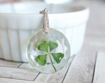 Four Leaf Clover flower pendant - clear resin pendant - silver chain - lucky clover necklace