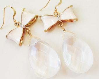 Crystal Quartz Earrings - Bow Jewelry - White Jewellery - Wedding - Bride - Dangle - Fashion - Style - Teardrop