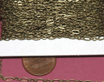32 ft spool of Antique Brass chain  ( 3 and 1 ) Long and Short Chain 4.5X2.5mm  Soldered Links