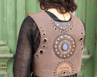 Steampunk Boho Festival Brown Leather Vest with Mandala Pattern - Pixie Leather Bolero Vest - Post Apocalyptic - Burning Man Festival Wear