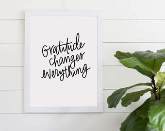 Gratitude Changes Everything Inspirational Quote, Digital Download, Gallery Wall Art, Inspiration