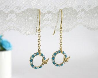Gold butterfly earrings, Butterfly earrings, Gold dangle butterfly earrings, Dangle earrings, Blue butterfly earrings, Butterfly jewelry