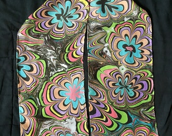 April Showers bring Rainbow Flowers Marbled Silk Scarf