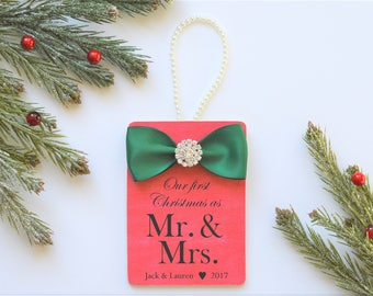 First Christmas Married Ornament Gift for Newlywed Couple Personalized - Our First Christmas as Mr. & Mrs. - Christmas Wedding Keepsake
