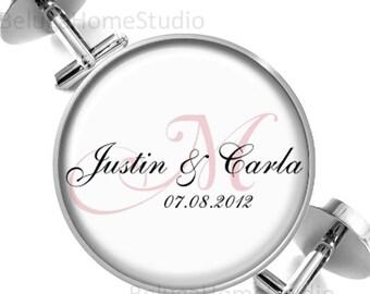 Personalized Wedding Monogram Cufflinks Cuff Links Grooms Wedding Anniversary Sweethearts
