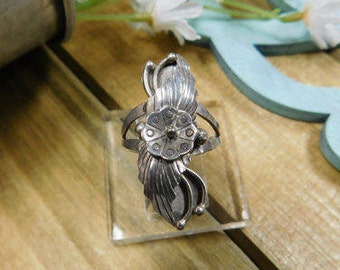 Vintage Sterling Navajo Native American Flower Leaf Feather Ring size 7 1/2