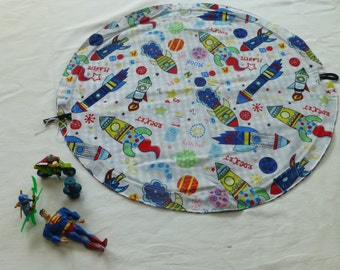 Drawstring Toy Mat - cars, building bricks