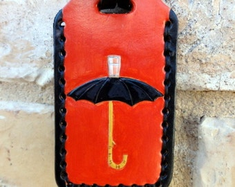 Magritte's Umbrella leather Luggage Tag
