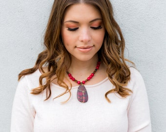 Red Turquoise Large Pendant Necklace Cherry Rock Candy