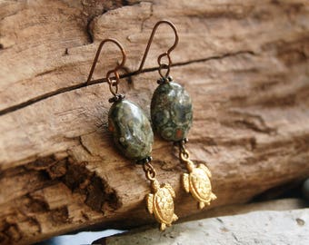 DONATION!!!  Brass Sea Turtles and Rainforest Jasper Dangle Earrings