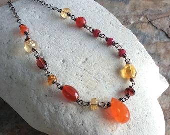 Red, Yellow, Orange MULTI GEMSTONE necklace, Citrine, Carnelian, Orange Garnet, Ruby, Red Garnet, Yellow Tourmaline,