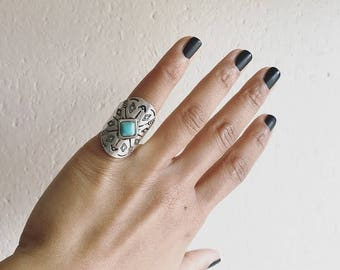 Stamped Turquoise Ring Size 4