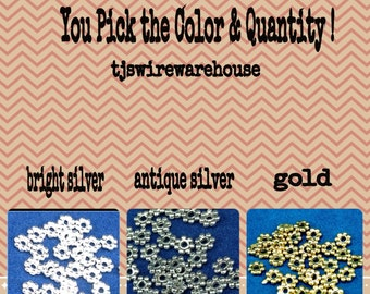 Daisy Spacer Beads, You Pick the Color & Quantity, Tibetan, Bali Style, Lead Free, Nickel Free, Wholesale