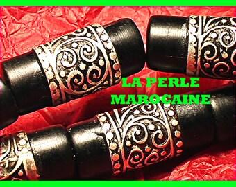 1 large METAL BEAD tube & resin handmade 35 * 15 MM metal bead