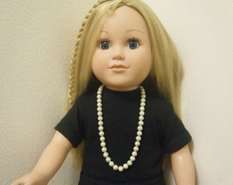 "Faux Pearl Necklace with Lobster Clasp, 18"" Inch Doll Jewelry for  American Girl Doll"