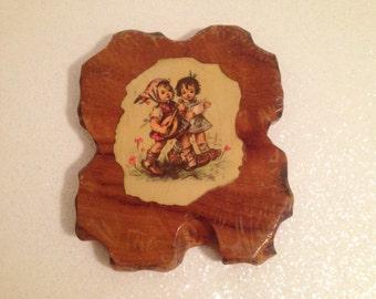 Vintage Hummel Style Decorative Wood Pot Holder Plaque