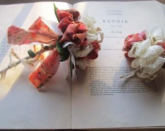 Small Vintage Fabric Wedding Poms, Fabric Bouquets , Cream Gold Batik Fabric Flowers, Unique Brides, OOAK Bouquets, Textile Poms, Handmade