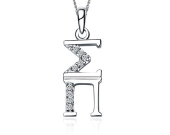 """Sigma Pi Lavalier for Sweetheart - Sterling Silver;  with 18"""" Silver Chain (SP-P001)"""