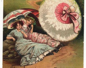 GLAMOUROUS LADIES, Giant Powder Puff, Vintage Comic Postcard, 1911, BB Series E289