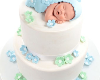 Baby Cake Topper Boy with Baby Blue Blanket and Blue & Mint Green Sugar Paste Flowers for Baby Shower by lil sculpture