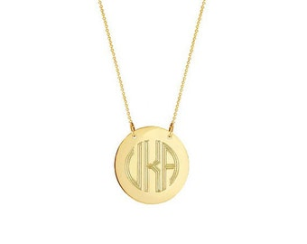 14k gold monogram disc necklace choose any initials in yellow 14k solid gold block monogram disc necklace choose any initials in yellow or white solid mozeypictures Choice Image