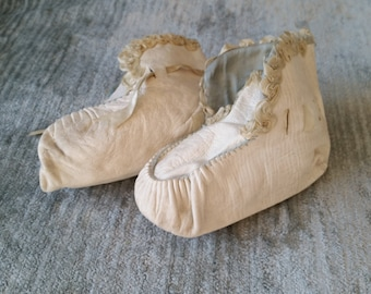 Victorian Era White Soft Leather Baby Shoes