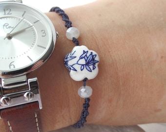 Adjustable bracelet, Flower Bracelet, White Blue Ceramic Flower, Macrame Bracelet, Blue Cord Casual Friendship, Navy Blue and white