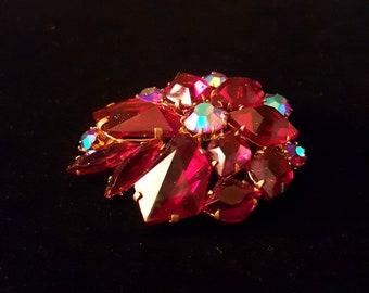 Vintage geometric red iridescent aurora borealis rhinestone brooch pin - antique jewelry, Christmas holiday, unique gift, wedding, bridal