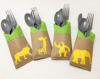 Cutlery Bags - Zoo Party - Zoo Birthday - Animal Party - Giraffe - Party Animal - Elephant - Safari Party - Jungle - Favor Bag - Treat Bag