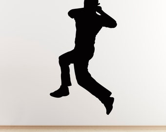 Cricket Wall Sticker - Spin Bowler Cricketer Wall Sticker - Sports Themed Decal
