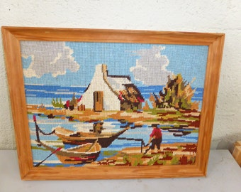 CANVAS CABIN FISHERMAN the finished tapestry collection rbc vintage paris 1970