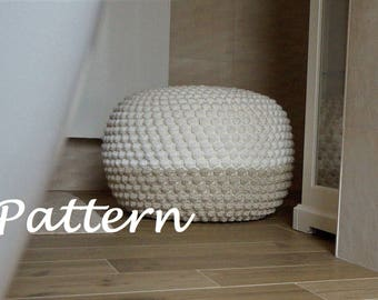 CROCHET PATTERN DIY Tutorial Large Crochet Pouf Poof, Ottoman, Footstool, Home Decor, Pillow, Bean Bag, Floor cushion (Crochet Pattern)