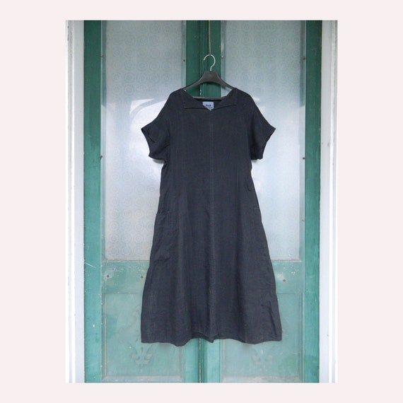 FLAX Engelheart Short-Sleeve Ties in the Back Dress from Summer 1996 in Faded Black Handkerchief Linen