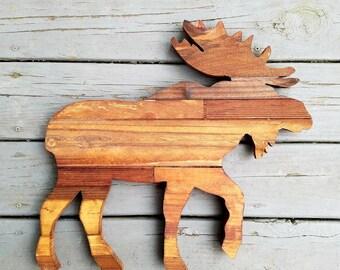 Moose, Wood Moose, Rustic Wood Moose, Wooden Moose Outline, Rustic Moose, Moose Decor, Moose Sign, Moose Cutout, Country Decor, Farm Decor