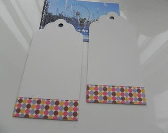 2 tags 4.5 cm x 9 cm white decorated with a masking tape multicolor