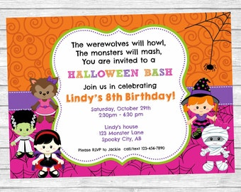 HALLOWEEN Invitation ~ Girls Halloween Birthday Party ~ Cute Kids ~ Monster Bash Invitation ~ Custom ~ Printable ~ Halloween Party