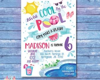 Pool Party Invitation. Pool Party Birthday Invitation. Summer Party Invitation. Cool By The Pool. Pool Party Invite. Summer Birthday. Girl