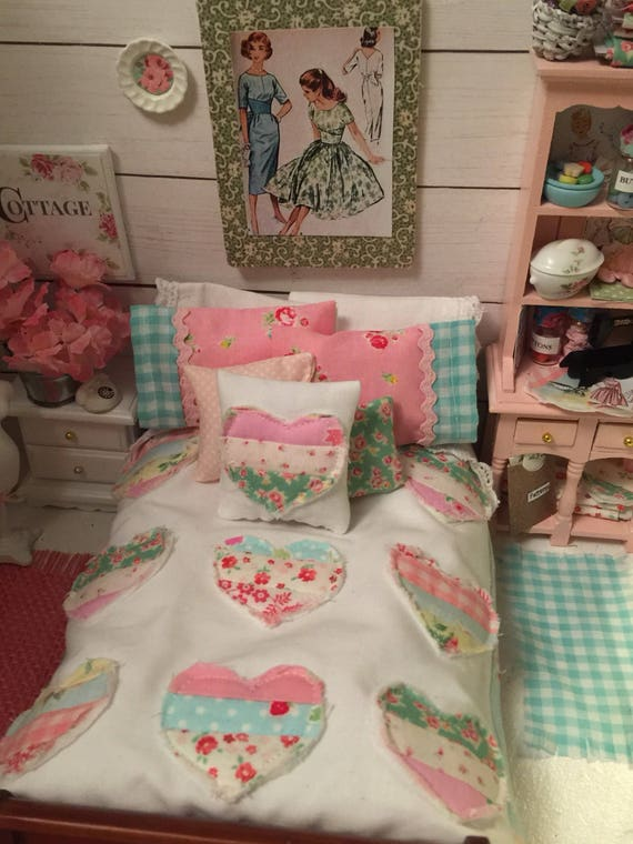 Miniature Country Heart Quilt, Pillowcases, Pillows, Lace Edged Sheet, Mattress and Wood Bed