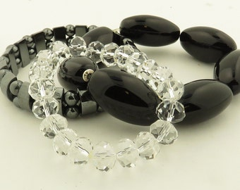 3 Vintage Cut Crystal , Black Onyx & Hematite Beaded Bracelets