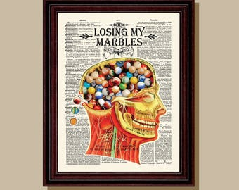 "Fine Art Print - ""Losing My Marbles "" 8.5"" x 11"", Vintage Anatomy Medical print, Neurologist Gift, Neurosurgeon gift, Psychologist gift"