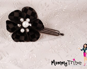 Elegant Black Flower Hair Clip on Checkered Velvet, Pearls