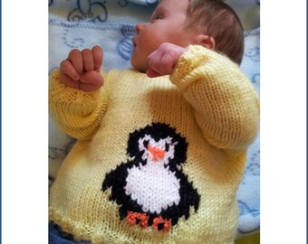 Knitting Pattern, Baby knitted Outfit, Penguin Sweater, Baby Knitting Pattern, Sweater Knitting Pattern, Hat Pattern, Bootees Pattern, PDF