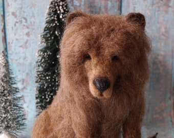 Needle Felted Brown Grizzly Bear ~ Wool Animal Art Sculpture ~ Rustic Decor or Gift