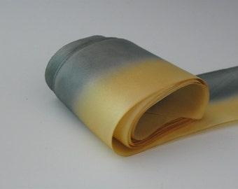 Hand dyed 2 1/2 inch wide silk satin ribbon