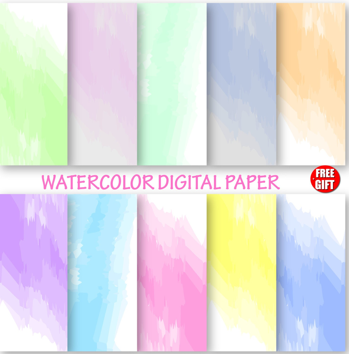 Watercolor Digital Paper Water Color Wallpaper Ombre DIY Background Use And Print Baby Shower Gift Wrapping Ideas From DIGIFT On