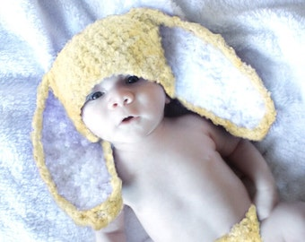 6 to 12m Baby Bunny Hat, Baby Bunny Ears, Yellow Baby Hat, Crochet Bunny Beanie Flopsy, Yellow White Bunny Rabbit Hat Photograpy Prop