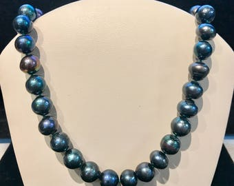 Vintage Blue Freshwater Pearl Necklace N-FWP-29