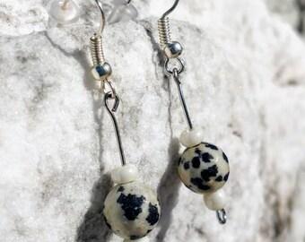 Dalmatian Stone Drop/Dangle Earrings