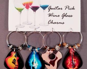 "Guitar Pick Wine Glass Charms ""Guitars"""
