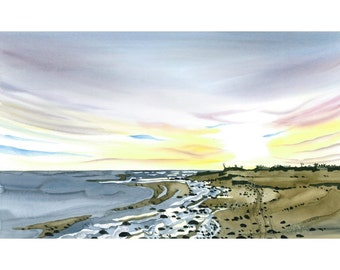 Seascape Beach Coast Sunset Limited Edition Giclee Print Watercolour